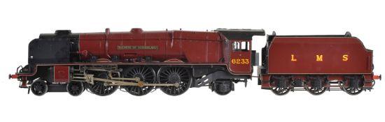 A scratch-built gauge 1 model of a 4-6-2 tender locomotive No 6233 'Duchess of Sutherland'