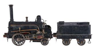An early model of a 0-2-2 live steam tender locomotive 'Rainhill'