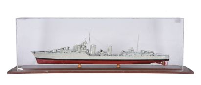 A cased static model of Navy Destroyer 'Cossack'