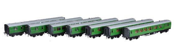A rake of seven SR twin bogie Bulleid corridor coaches