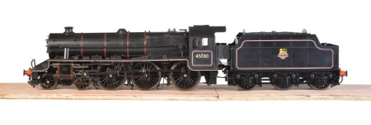 A gauge 1 model of a Class 5MT Stanier' Black 5' tender locomotive No 45080