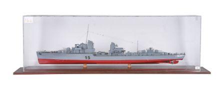 A cased static model of Navy Destroyer No.15