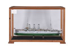 A cased static model of a First World War destroyer