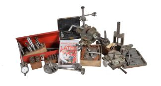 A selection of model engineering equipment including milling vice