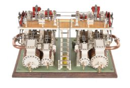 An exhibition quality model of a compound paddle steamer engine