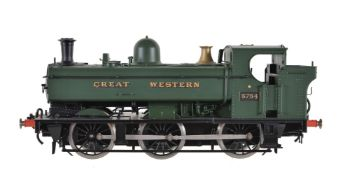 A gauge 1 Sancheng model of a 0-6-0 pannier tank locomotive No 5754