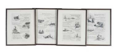 Four framed and illustrated prints of Naval ships