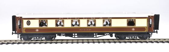 A rake of three gauge 1 Pullman coaches