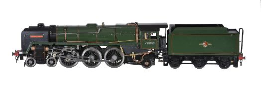 A well-engineered 3 ½ inch gauge model of a tender locomotive No 70049 'Solway Firth'