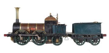 A 5 inch gauge model of the 0-4-2 Liverpool and Manchester Railway tender locomotive 'Lion'