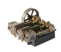 A Stuart Turner model of a 'Score' twin cylinder horizontal live steam mill engine