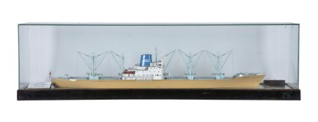 """A glass cased model of M.V.""""Tongariro"""" of The New Zealand Shipping Company"""