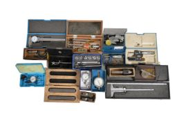 A collection of precision micrometers and gauges