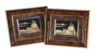 A pair of framed pictures of galleons in a seascape