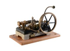 A well-engineered vintage model of a horizontal live steam mill engine