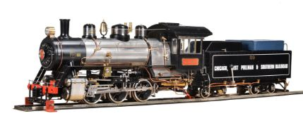 A 5 inch gauge model of a 0-6-0 American Chicago West Pullman & Southern Railroad tender locomotive