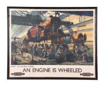 λ Terence Cuneo. (1907-1996) British Railways coloured lithograph print 'An Engine is Wheeled'