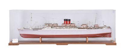 A cased static model of the passenger ship 'Edinburgh Castle'