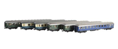 A rake of six Märklin gauge 1 Continental DB coaches