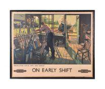 λ Terence Cuneo. (1907-1996) British Railways coloured lithograph print 'On Early Shift'