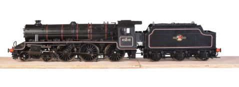 A gauge 1 model of a Class 5MT Stanier 'Black 5' tender locomotive No 45010
