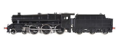 A gauge 1 Bachmann by Finescalebrass model of a 4-6-0 black five tender locomotive