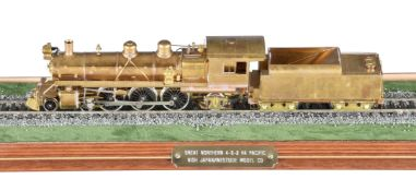 A HO gauge brass model of a Great Northern Railroad Class H-4 4-6-2 Pacific tender locomotive