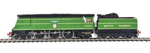 A hand-built gauge 1 model of a British Railways Battle of Britain Class 4-6-2 tender locomotive No