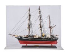 A cased static model of the three masked square rigger 'Discovery'