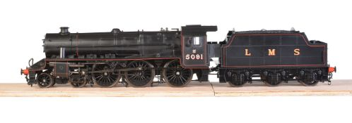 A gauge 1 model of a Class 5MT Stanier 'Black 5' tender locomotive No 5091