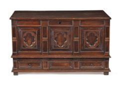 A Charles II oak, walnut and snakewood chest