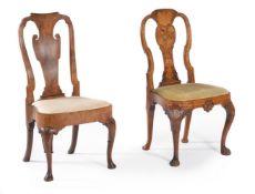 A Dutch walnut and marquetry chair