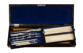 ϒ Victorian nickel plated brass bound rosewood cased set of drawing instruments