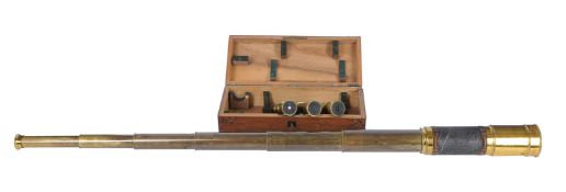 An unusual French lacquered brass three-inch six-draw portable astronomical refracting telescope
