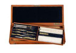 ϒ Victorian mahogany cased set of drawing instruments