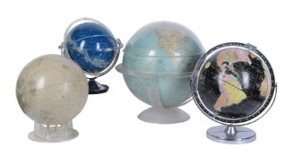 A group of four globes