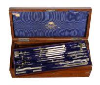 ϒ An Edwardian mahogany magazine of draughtsman's drawing instruments