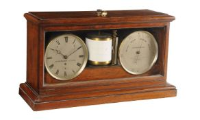 A mahogany cased self-recording aneroid barometer/weather station