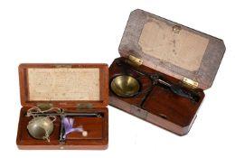 A Victorian mahogany cased set of portable diamond scales De Grave