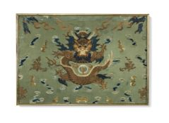A Chinese silk 'dragon' panel, Qing Dynasty, with central join, embroidered with silk five-clawed