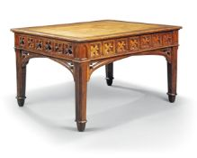 A English gothic walnut library table, second quarter 19th century, the rectangular moulded top with