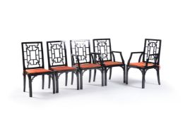 A set of five black lacquered chairs in Chinese Chippendale taste, 20th century, comprising three