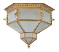 A Continental, probably French, gilt metal and glazed plafonnier loosely in Orientalist taste,