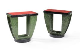 A pair of Art Deco console tables