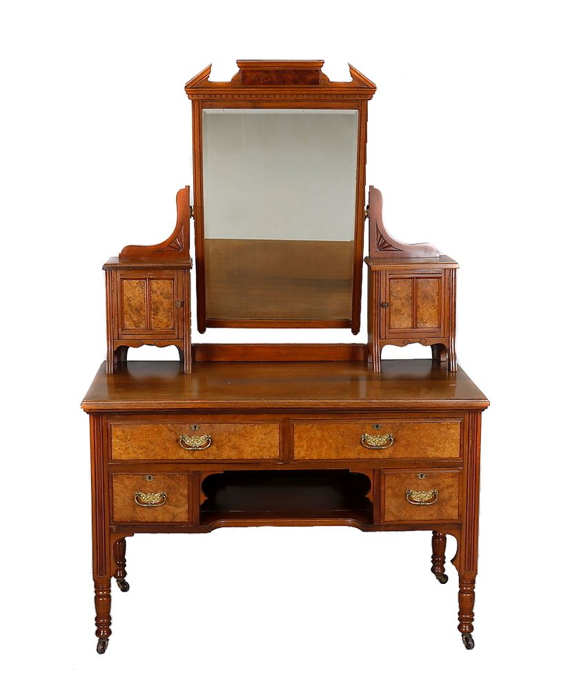Lot 357 - A late Victorian walnut and burr walnut dressing table