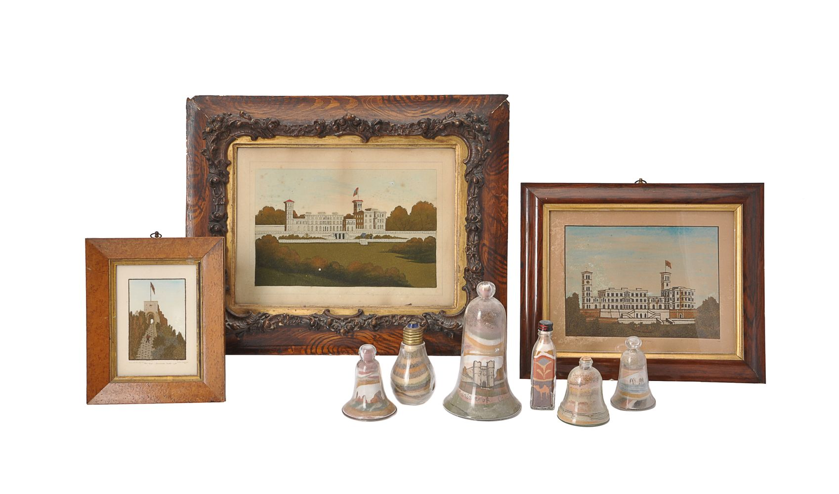 Lot 355 - A collection of nine Victorian Isle of Wight souvenir sand pictures