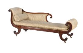A Regency mahogany and brass inlaid chaise longue
