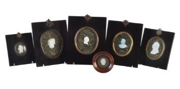 A group of six opaque white bust portrait sulphides