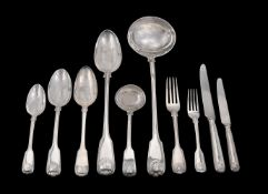 A matched silver fiddle, thread and shell pattern table service