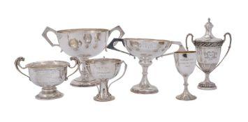Six silver trophy cups